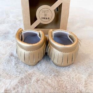 Sweet N Swag Shoes - Sweet N Swag Baby Champagne Gold Moccasins 1